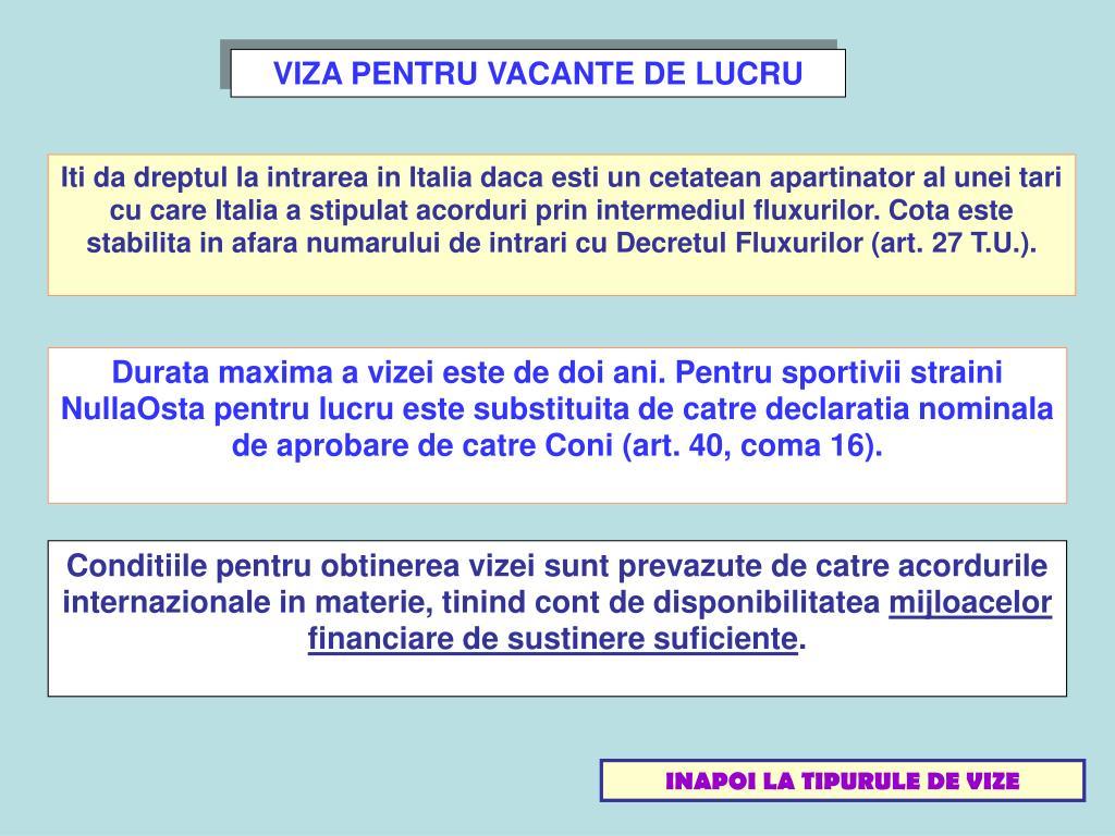 VIZA PENTRU VACANTE DE LUCRU