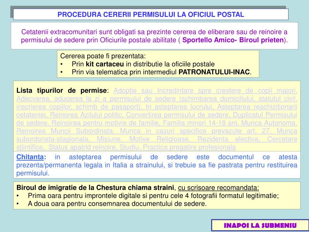 PROCEDURA CERERII PERMISULUI LA OFICIUL POSTAL