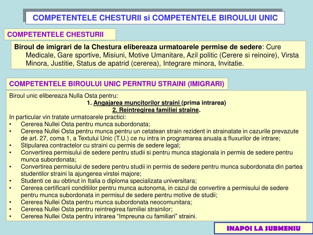 COMPETENTELE CHESTURII si COMPETENTELE BIROULUI UNIC