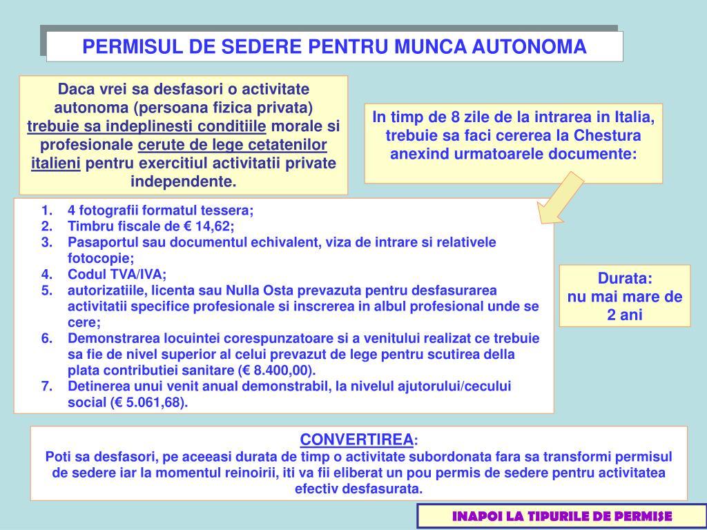 PERMISUL DE SEDERE PENTRU MUNCA AUTONOMA