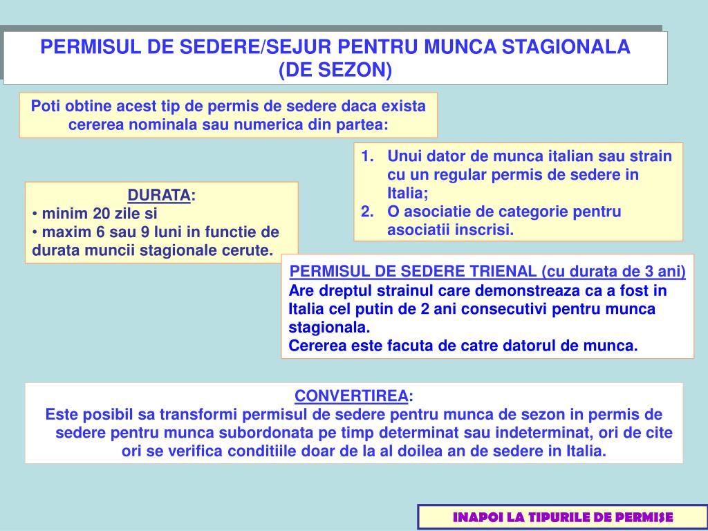 PERMISUL DE SEDERE/SEJUR PENTRU MUNCA STAGIONALA