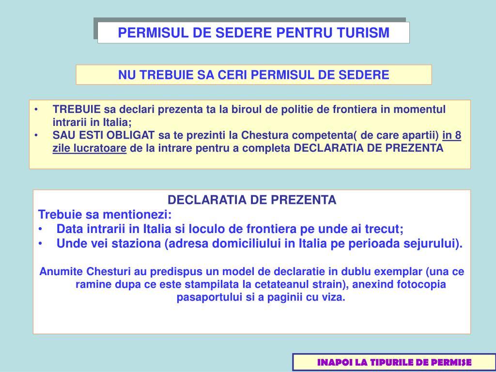 PERMISUL DE SEDERE PENTRU TURISM