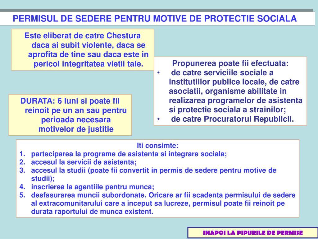PERMISUL DE SEDERE PENTRU MOTIVE DE PROTECTIE SOCIALA