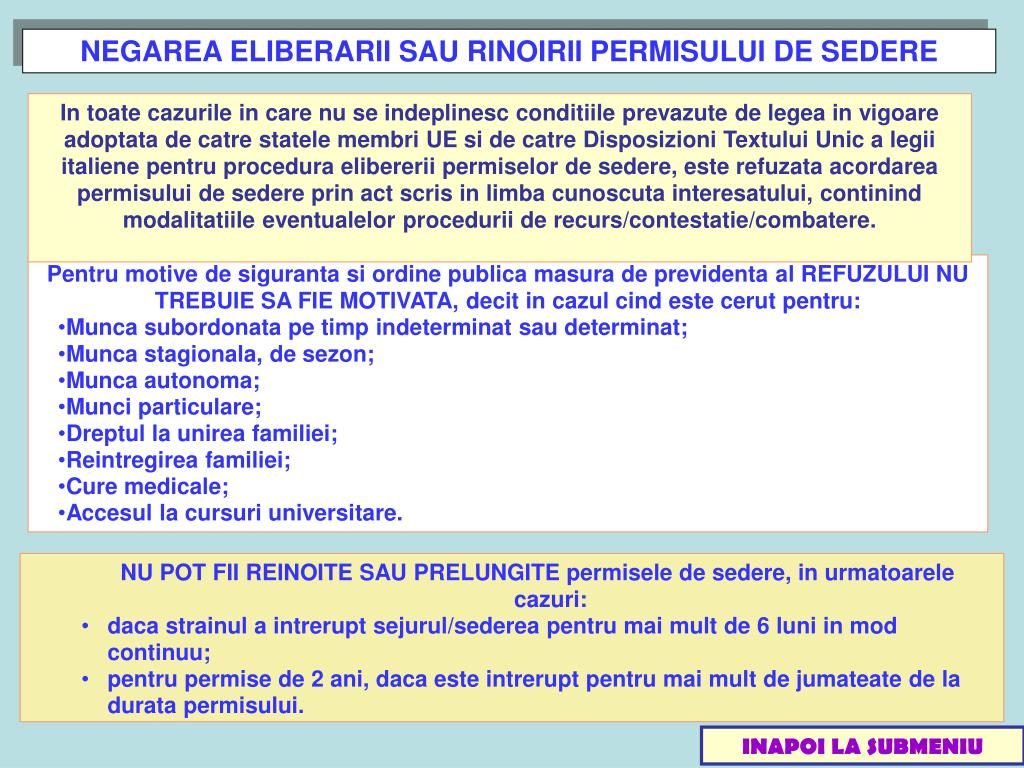 NEGAREA ELIBERARII SAU RINOIRII PERMISULUI DE SEDERE