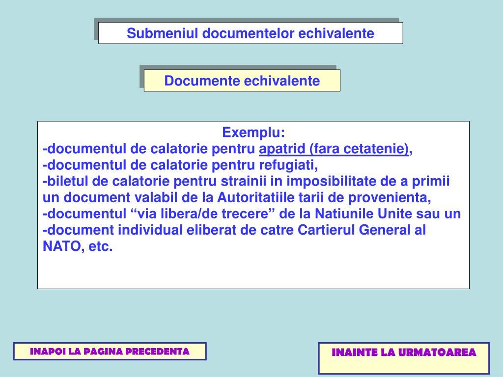 Submeniul documentelor echivalente