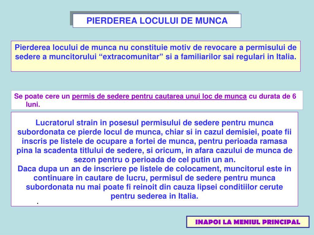 PIERDEREA LOCULUI DE MUNCA