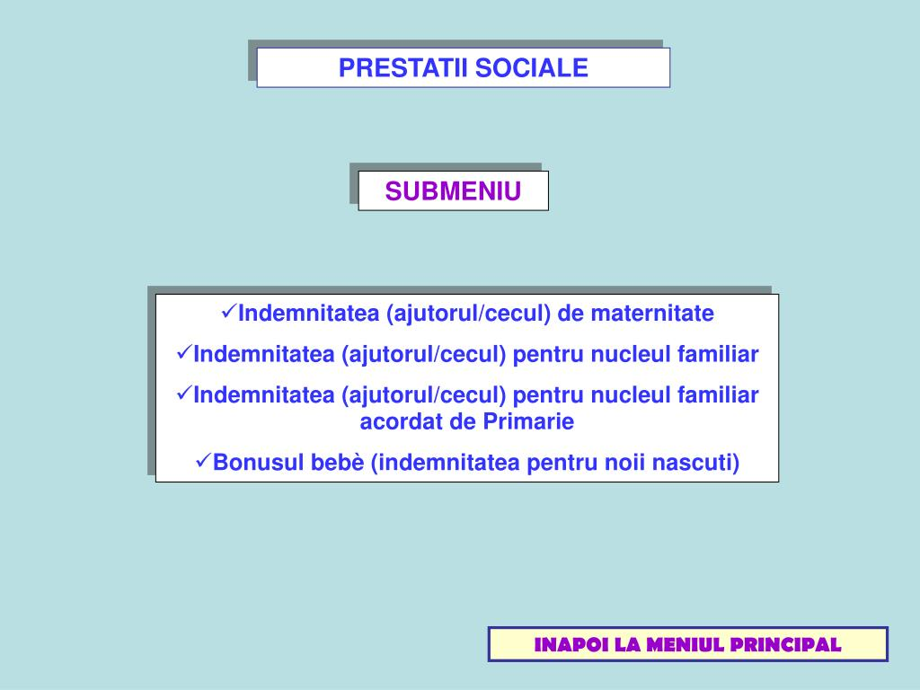 PRESTATII SOCIALE