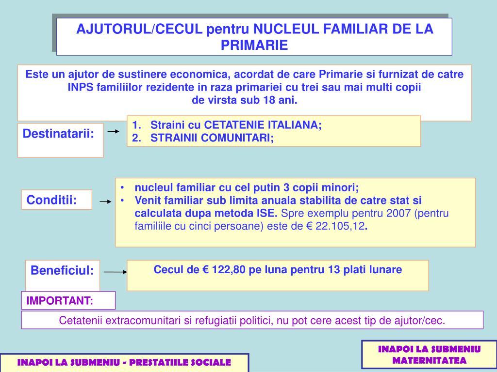 AJUTORUL/CECUL pentru NUCLEUL FAMILIAR DE LA PRIMARIE