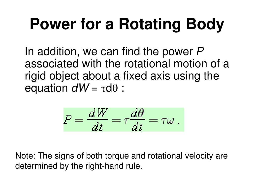 Power for a Rotating Body
