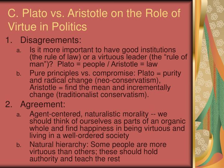 C. Plato vs. Aristotle on the Role of Virtue in Politics