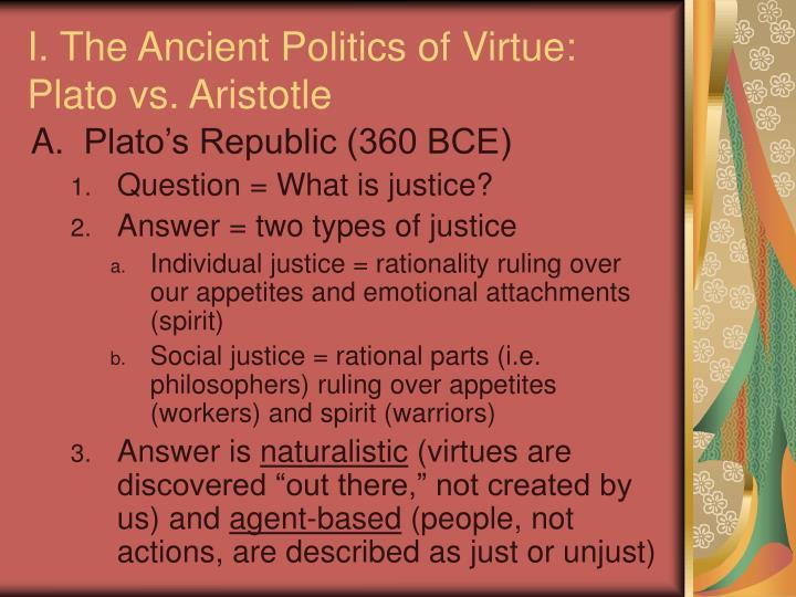 I. The Ancient Politics of Virtue: Plato vs. Aristotle