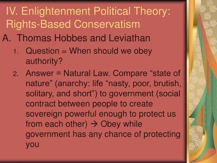 IV. Enlightenment Political Theory: