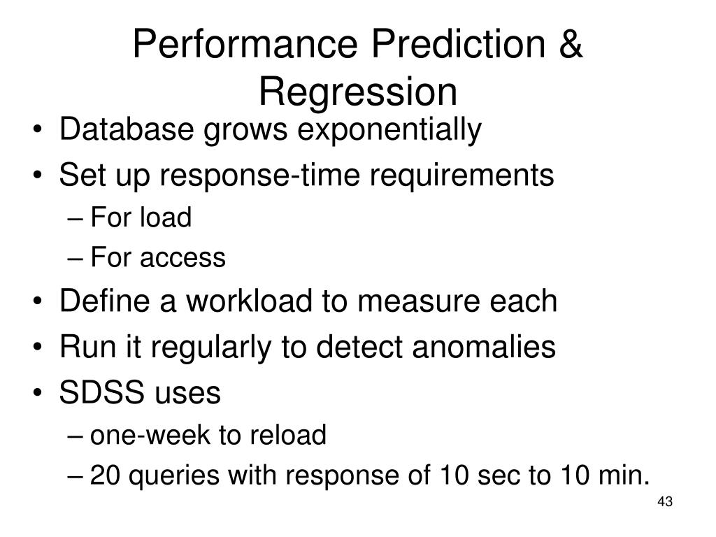 Performance Prediction & Regression