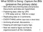 what sdss is doing capture the bits preserve the primary data
