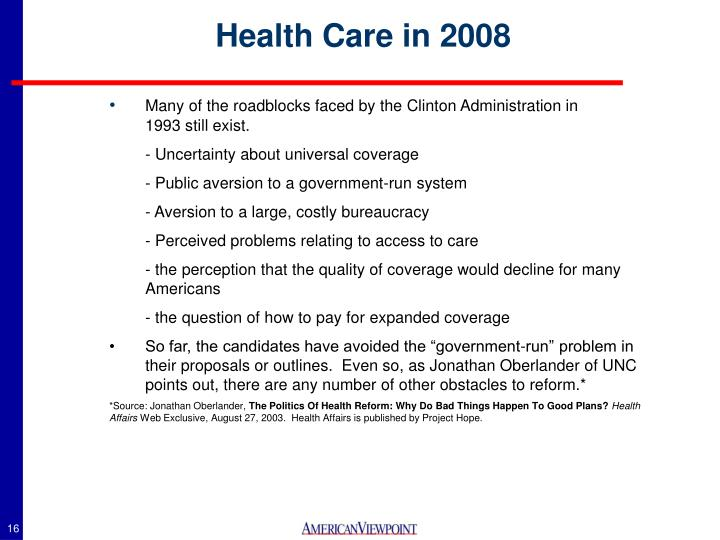 Health Care in 2008