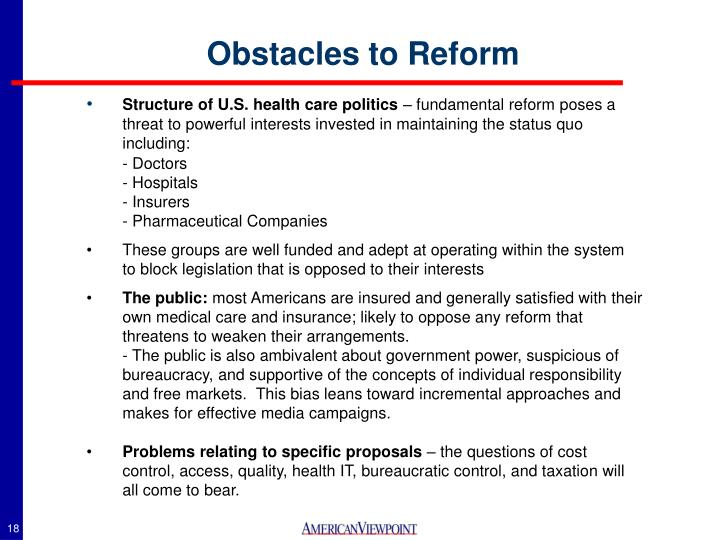Obstacles to Reform