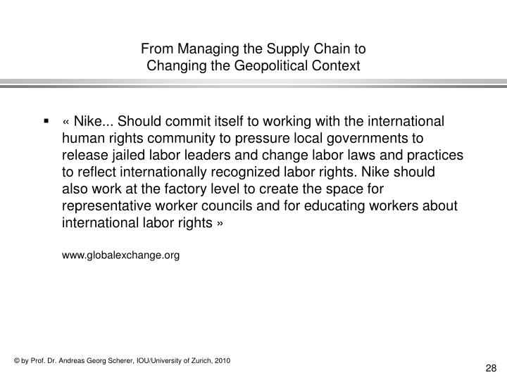 From Managing the Supply Chain to