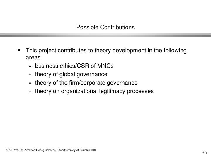 Possible Contributions