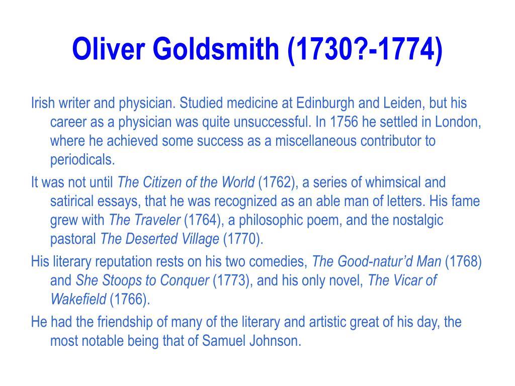 Oliver Goldsmith (1730?-1774)