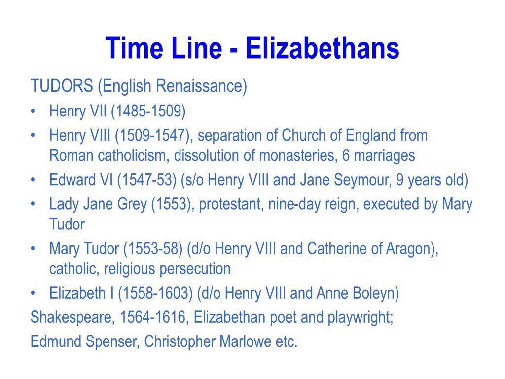 Time Line - Elizabethans
