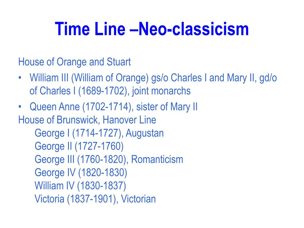 Time Line –Neo-classicism