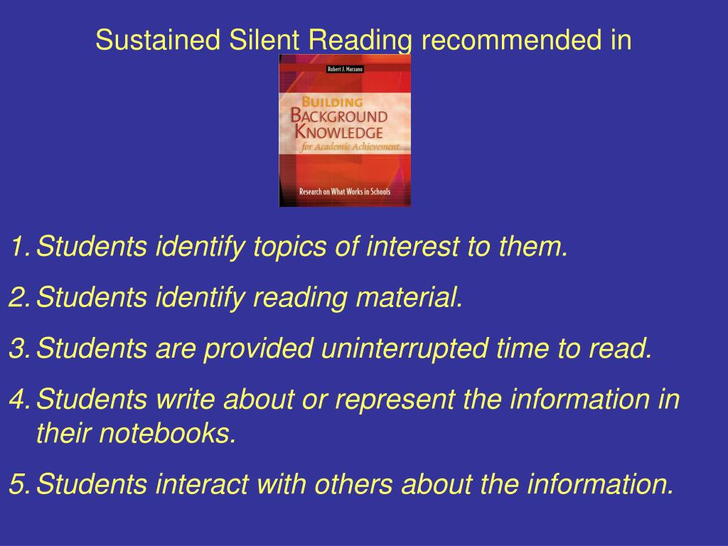 Sustained Silent Reading recommended in
