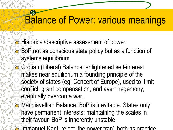 Balance of Power: various meanings
