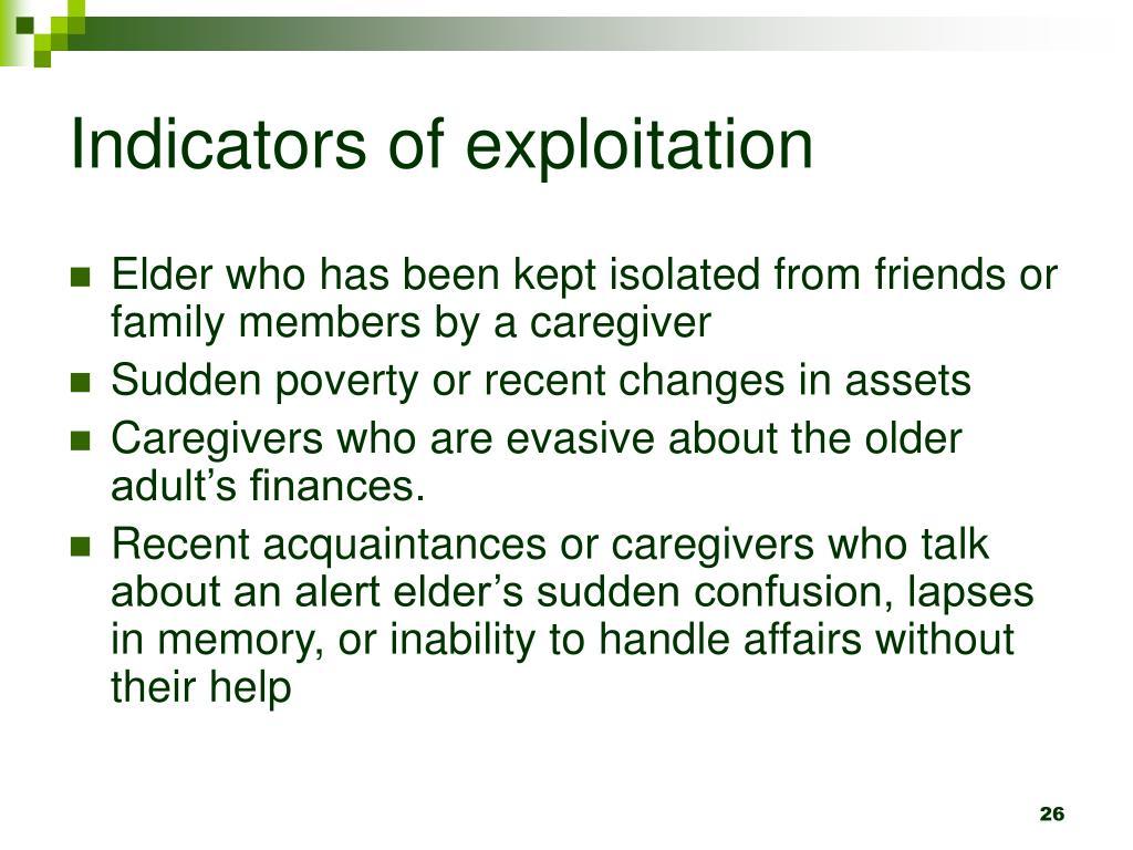 Indicators of exploitation