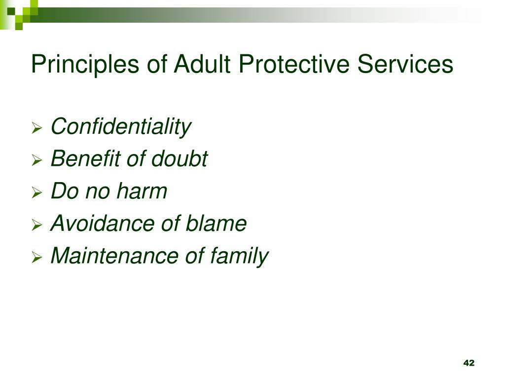 Principles of Adult Protective Services