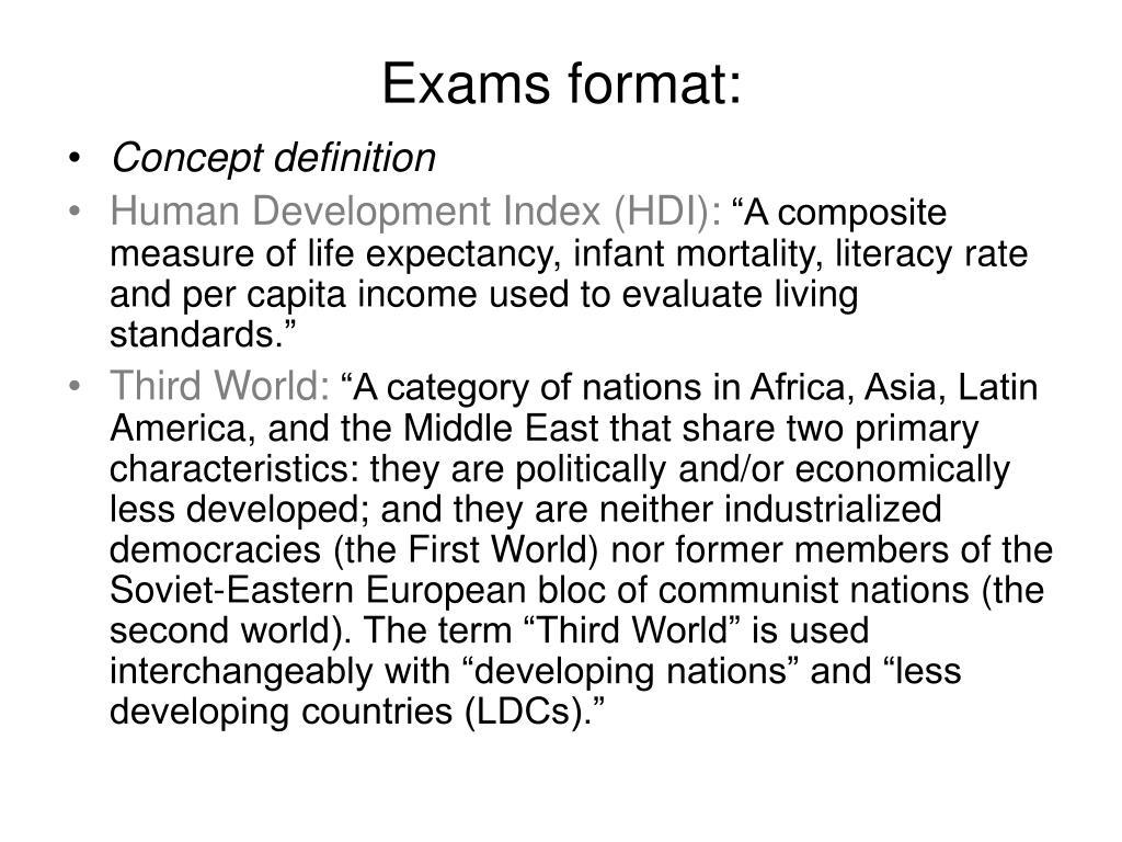 Exams format: