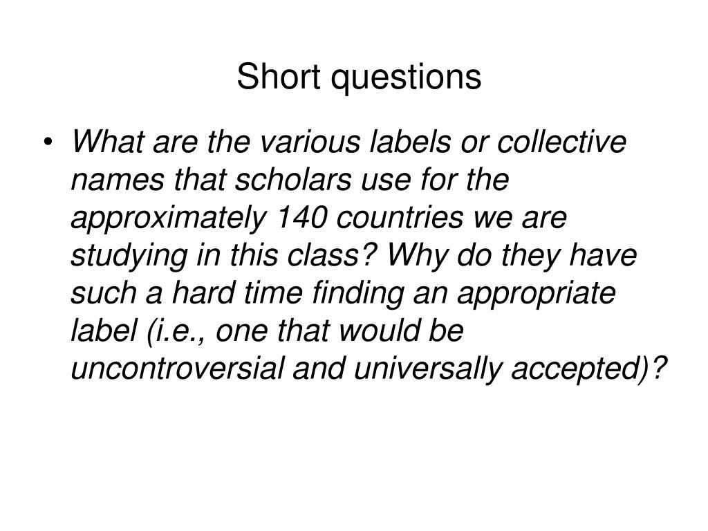 Short questions