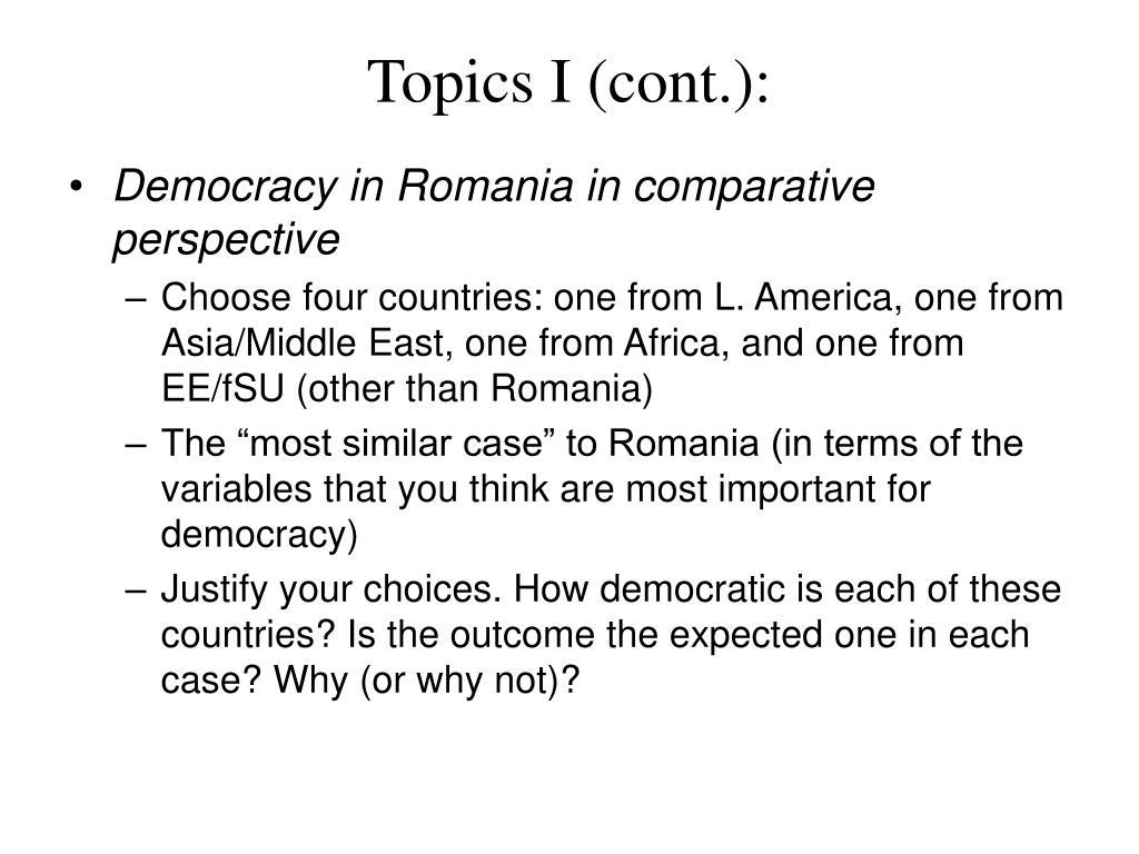 Topics I (cont.):