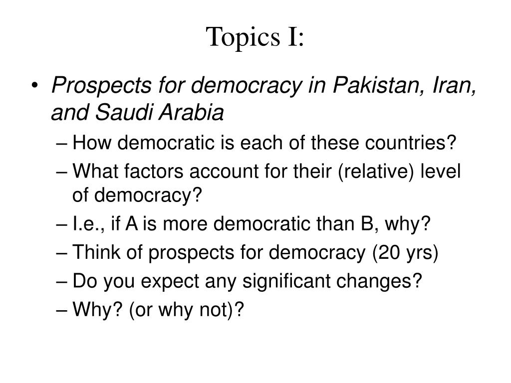 Topics I: