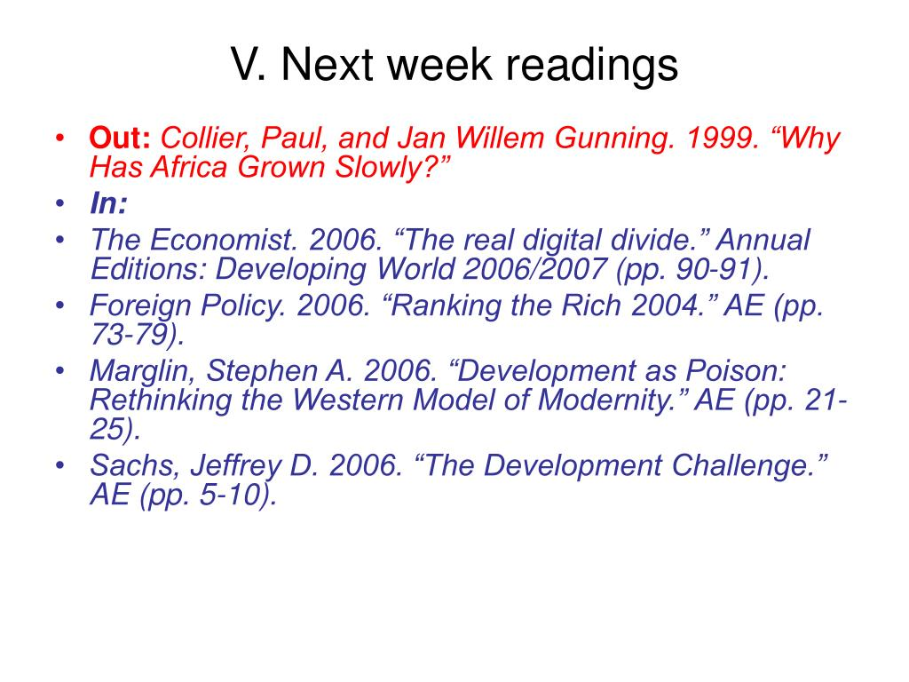 V. Next week readings