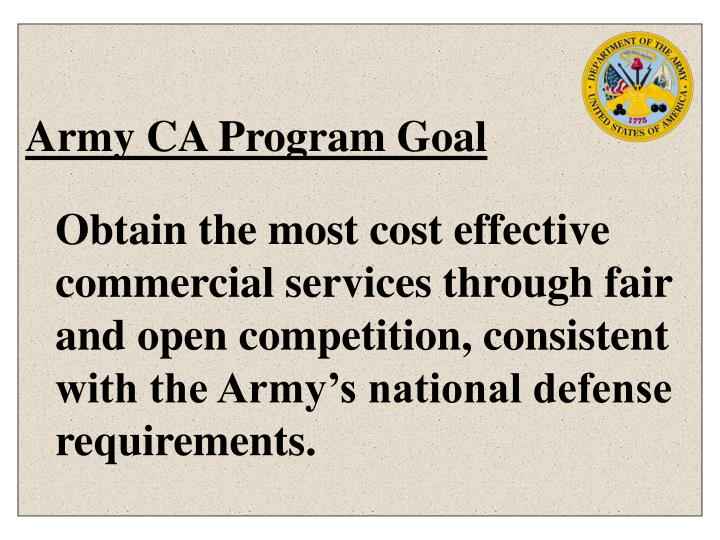 Army ca program goal