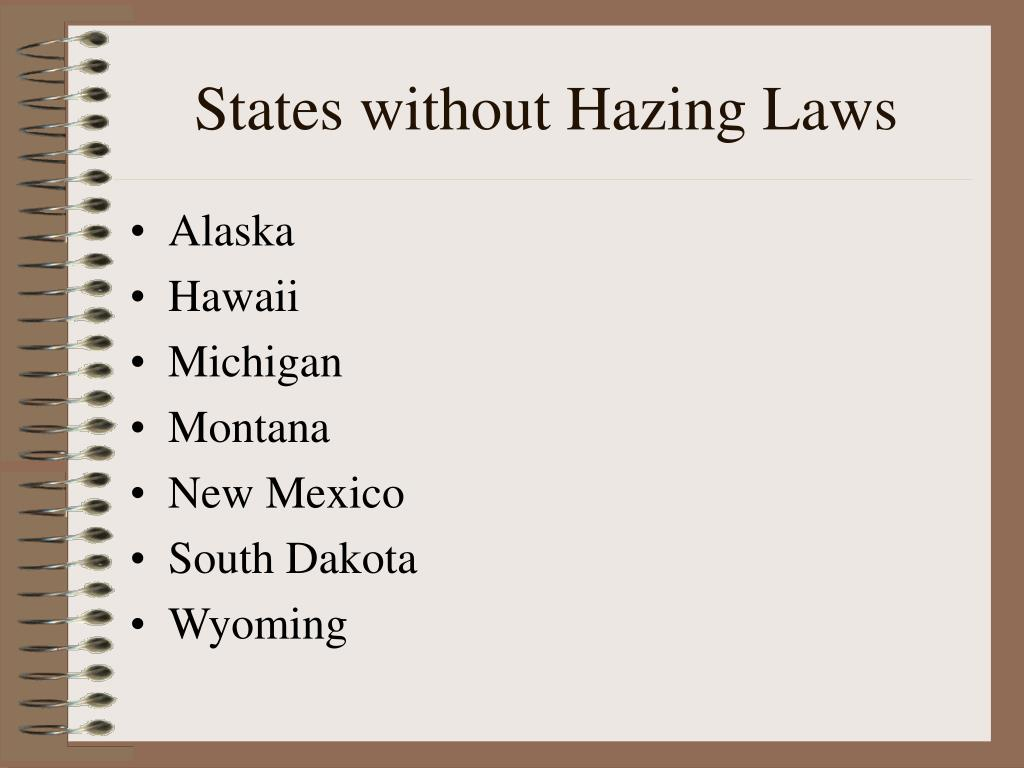 States without Hazing Laws