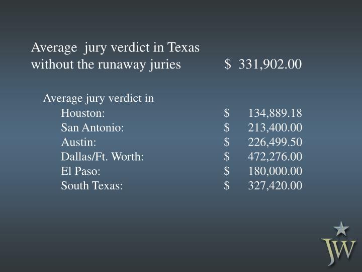 Average  jury verdict in Texas