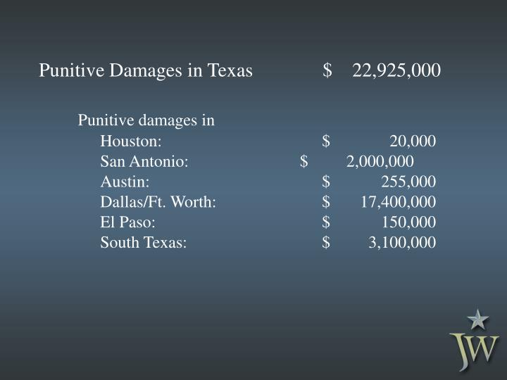 Punitive Damages in Texas $    22,925,000