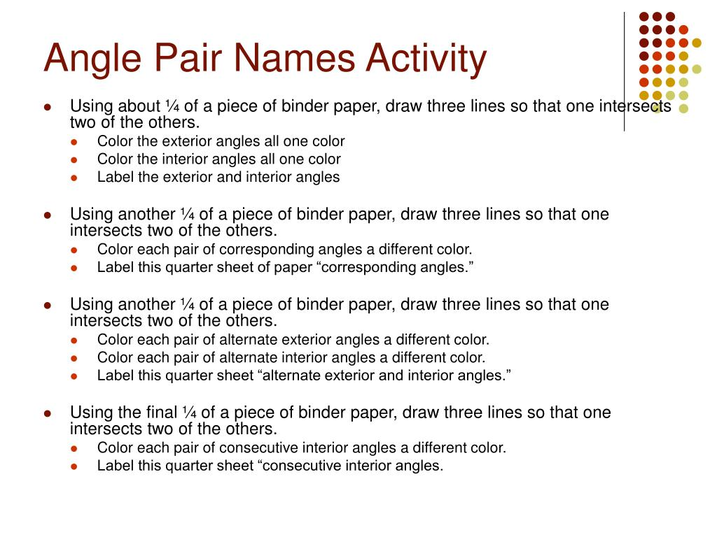 Angle Pair Names Activity