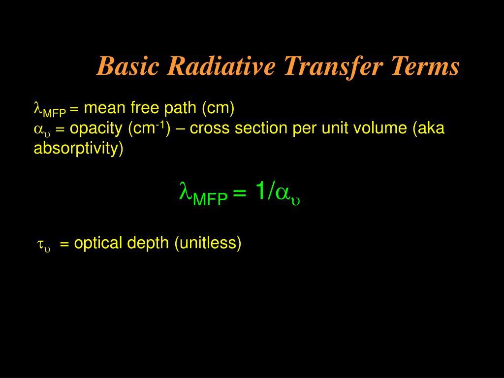 Basic Radiative Transfer Terms