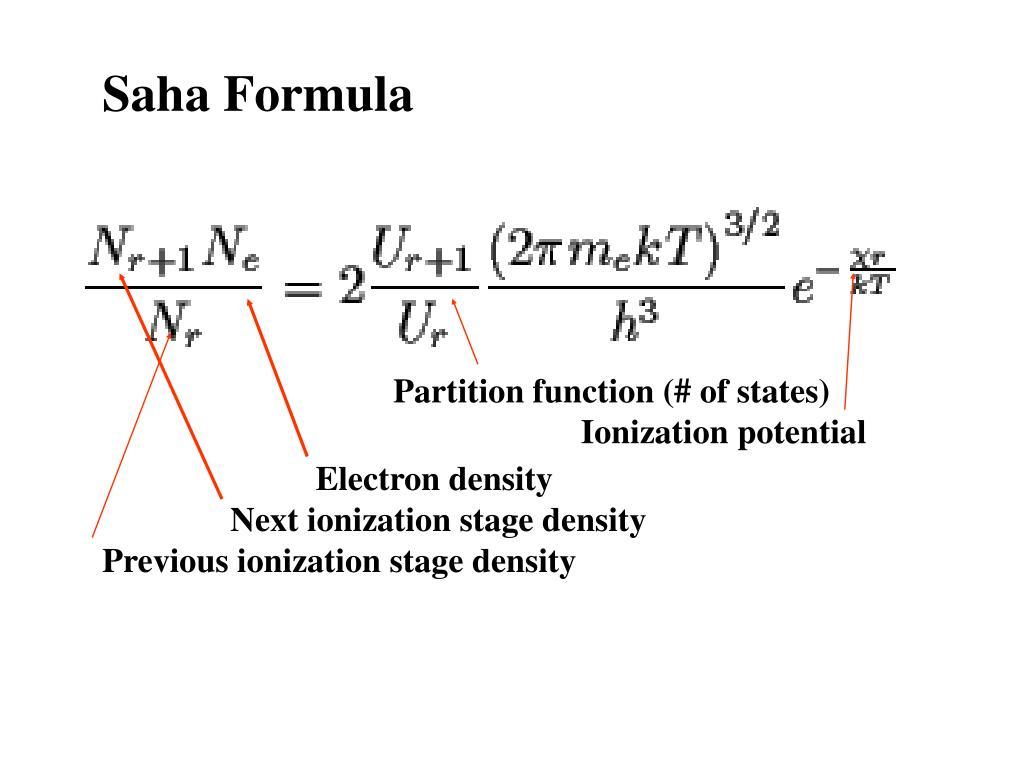Saha Formula