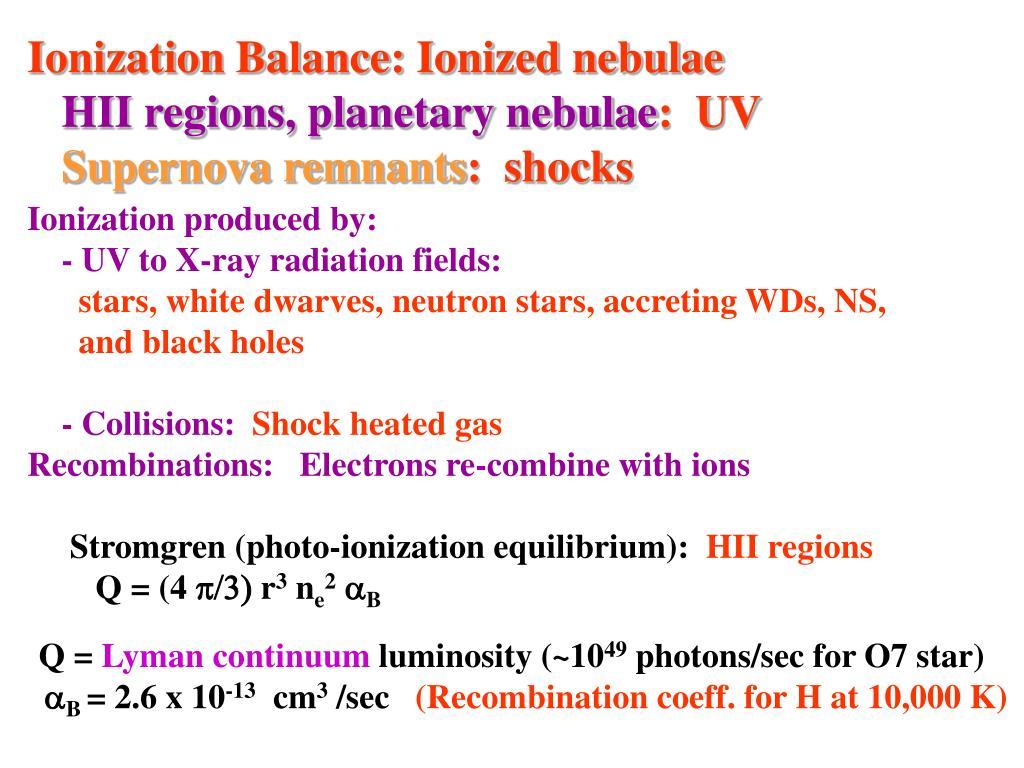 Ionization Balance: Ionized nebulae