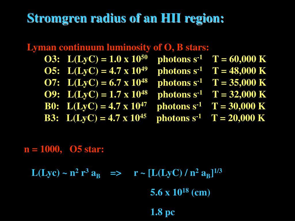 Stromgren radius of an HII region:
