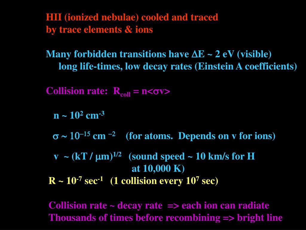 HII (ionized nebulae) cooled and traced
