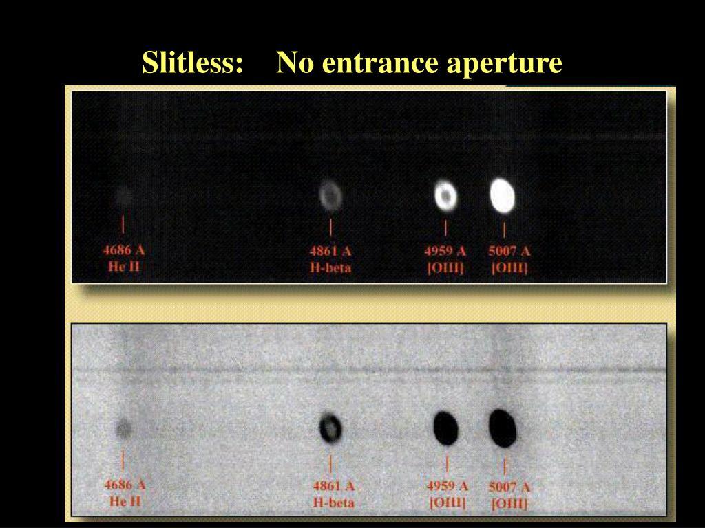 Slitless:    No entrance aperture