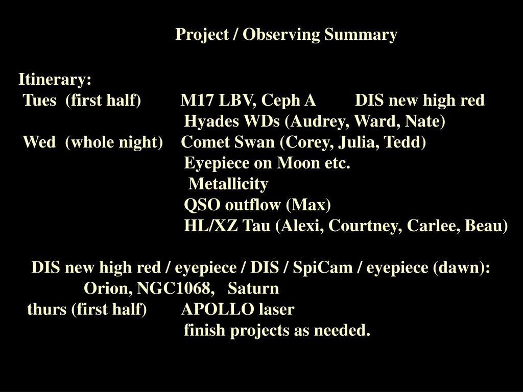 Project / Observing Summary