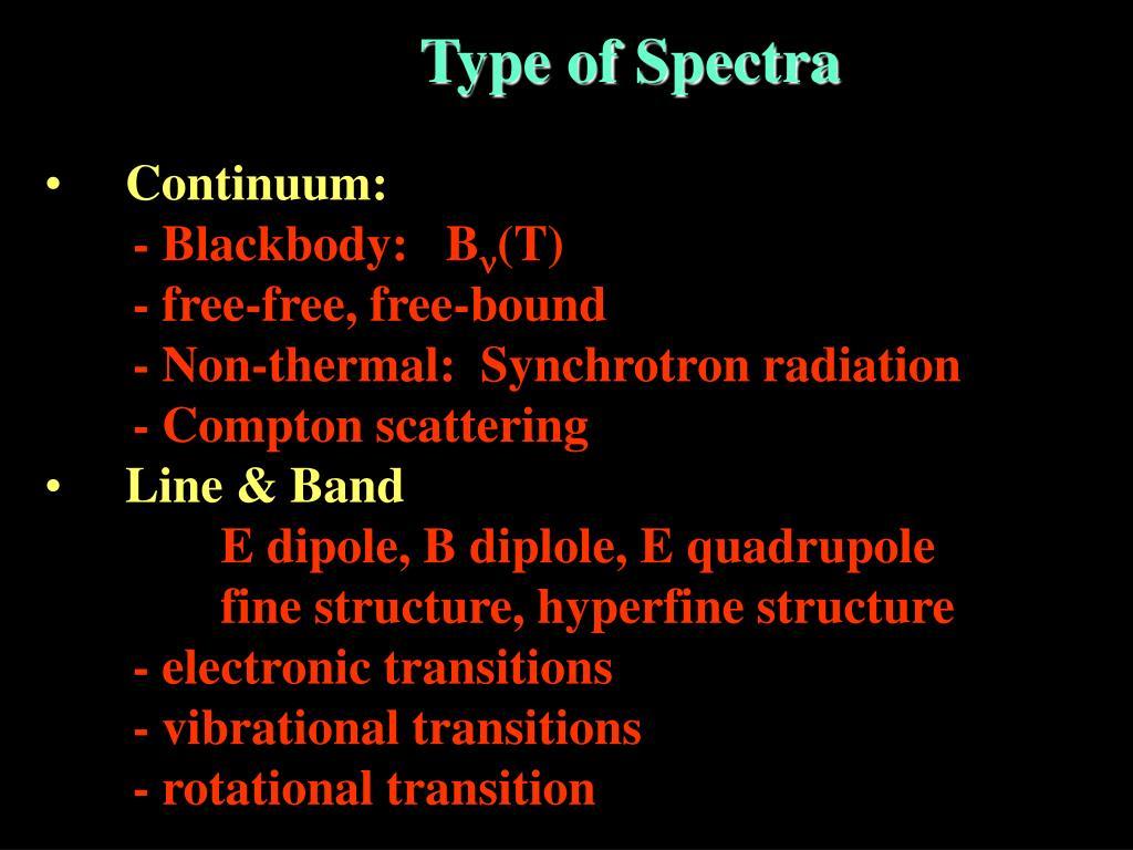 Type of Spectra