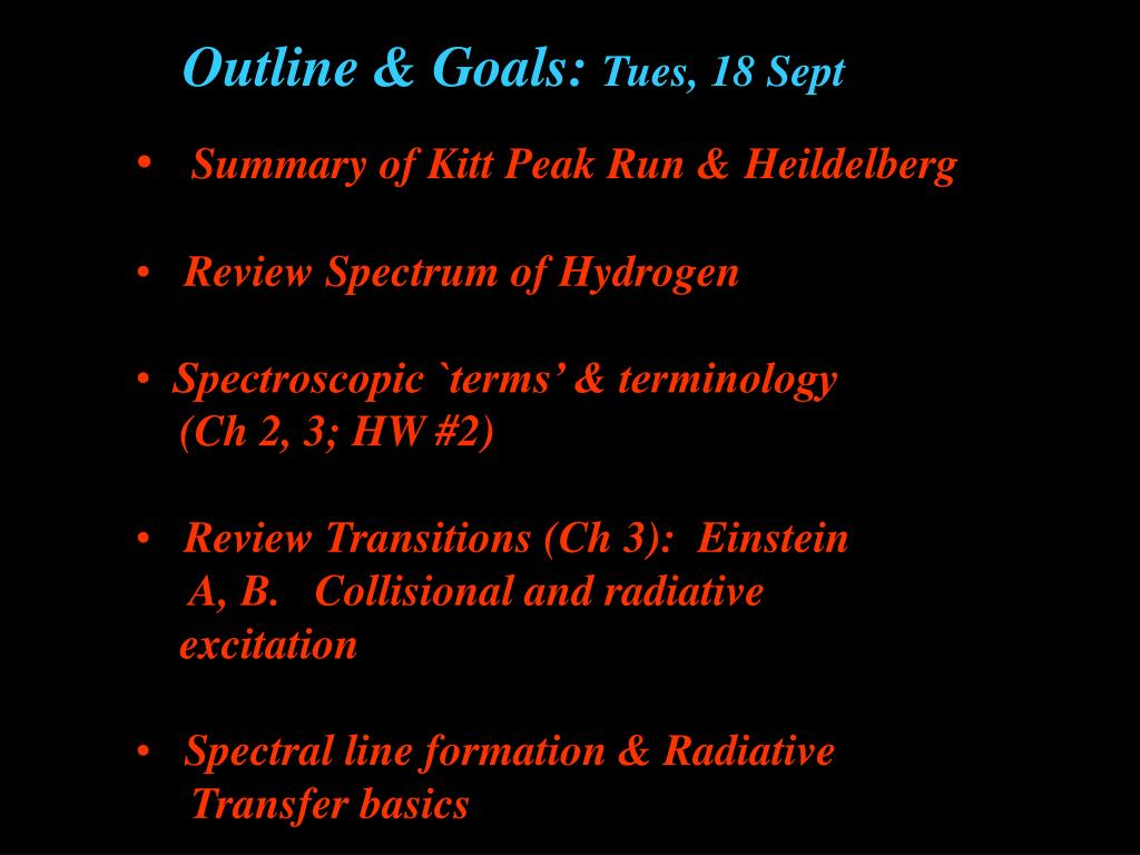 Outline & Goals: