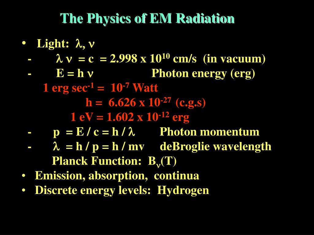 The Physics of EM Radiation