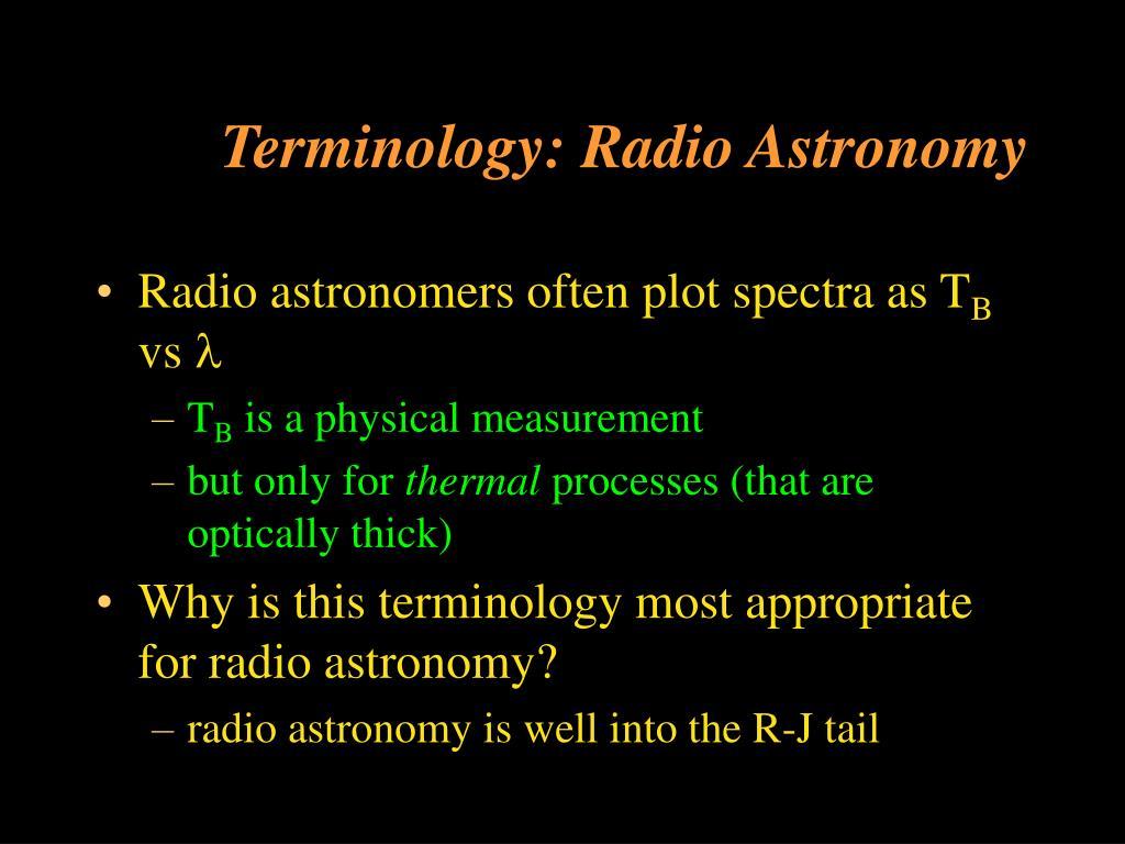 Terminology: Radio Astronomy
